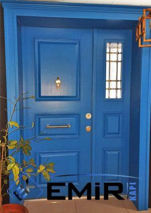 Alaçatı Özel Tasarım Villa Kapısı Mavi Çelik Kapı VK-022