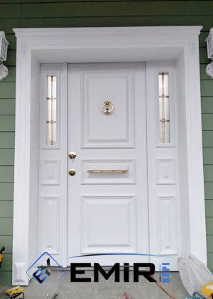 Beyaz Villa Kapısı Ferforje Korkuluklu VK-017