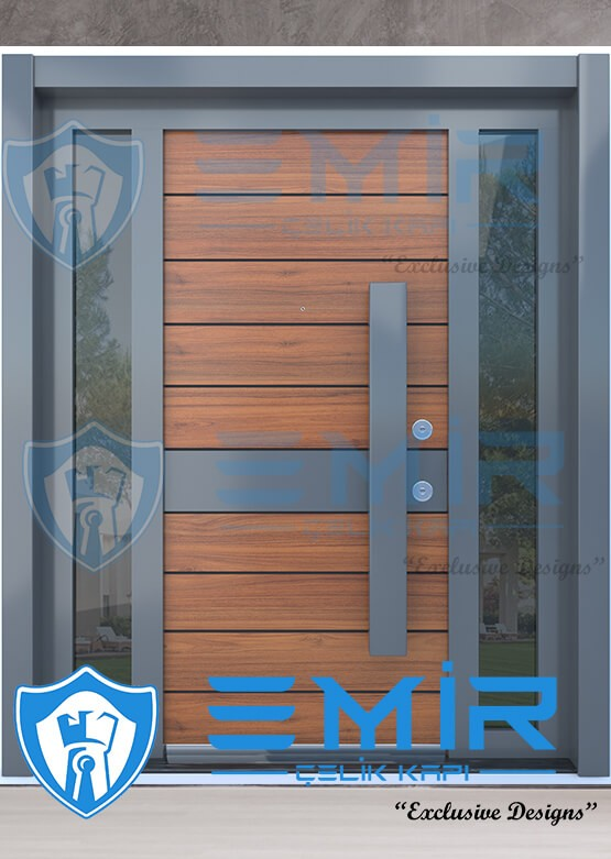 Villa Kapısı İndirimli Villa Giriş Kapıları Kompozit Villa Kapısı Camlı Dış Mekan Çelik Kapı5