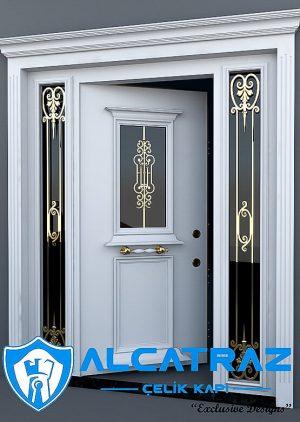 Lüks Villa Kapısı Altın Varak Ferforjeli Beyaz VK-073