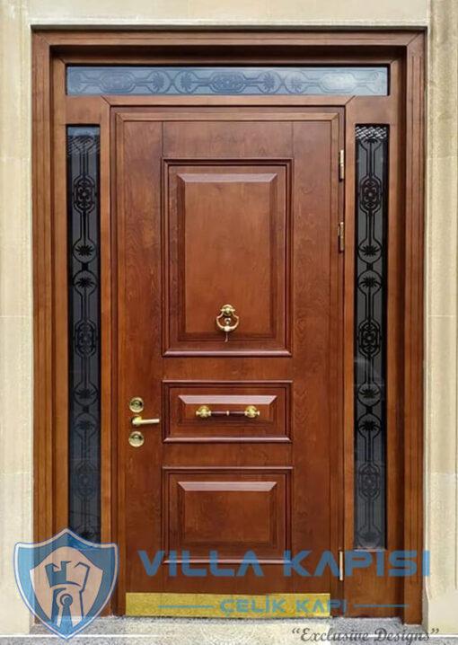 Ceviz Klasik Villa Kapısı Modelleri Ahşap Kaplama Çelik Villa Giriş Kapısı Çelik Kapı Villa Kapıları Fiyatları Modelleri istanbul villa kapısı