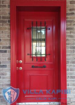 Kırmızı Klasik Villa Kapısı Modelleri Ahşap Kaplama Çelik Villa Giriş Kapısı Çelik Kapı Villa Kapıları Fiyatları Modelleri istanbul villa kapısı