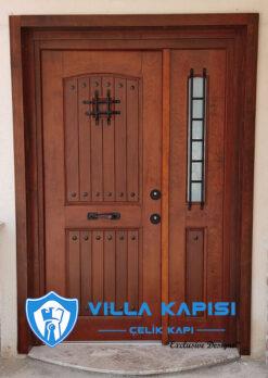villa kapısı modelleri doğal ahşap kaplama villa kapıları çelik kapı modelleri